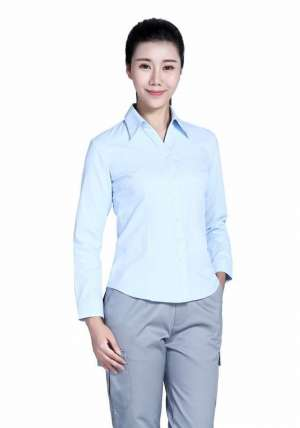 60棉80双织浅蓝长袖衬衫